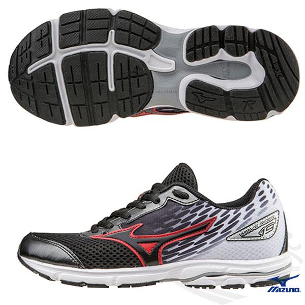 MIZUNO 美津濃 WAVE RIDER 19 Jnr.  大童鞋(黑*黑*白) 親子鞋