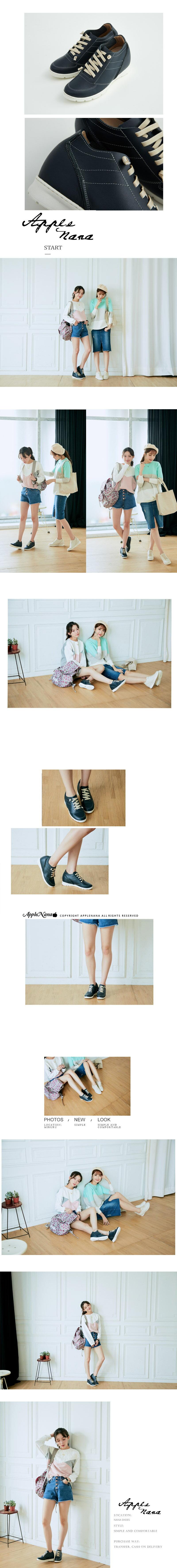 AppleNana蘋果奈奈【QT219911580】時尚部落客運動風潮隱形內增高真皮氣墊鞋 4