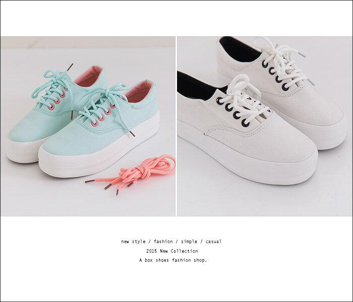 格子舖*【KRJ-1019】韓版熱銷摩登 附單色替換鞋帶 增高3.5CM厚底鬆糕鞋 帆布鞋 5色 2