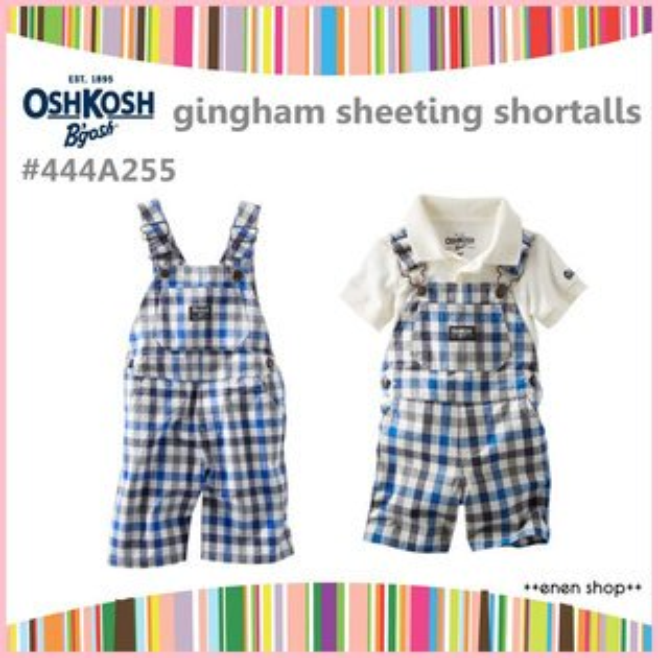 ++enen shop++ OshKosh B'gosh 藍灰格紋吊帶短褲 ∥ 18M **零碼出清**