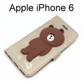 LINE公仔側掀皮套 熊大 [歪頭棕] iPhone 6 / 6S (4.7吋)【正版授權】