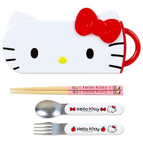 日本 Hello Kitty   大臉造型三件組/湯叉筷 / 餐具組