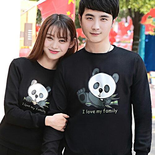 ◆快速出貨◆刷毛T恤 圓領刷毛 情侶T恤 暖暖刷毛 MIT台灣製.大貓熊家族【YCS407】可單買.艾咪E舖 2