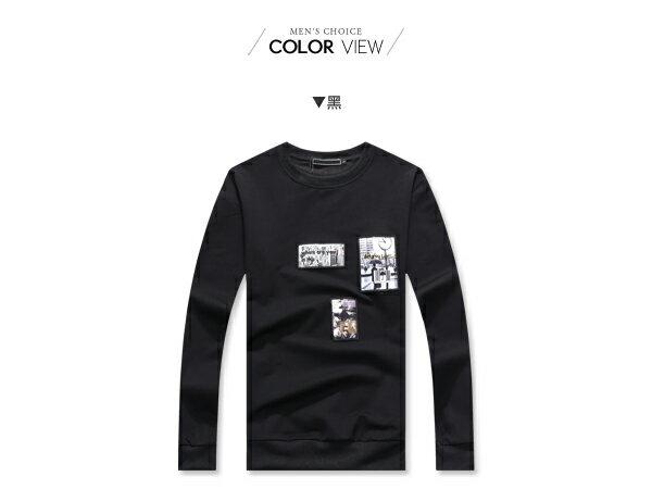 ☆BOY-2☆【NQ96026】大學T 潮流拼貼街頭圓領長袖T恤 1