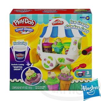 【Playwoods】[培樂多黏土PLAYDOH]聖代冰淇淋車遊戲組(內含3罐黏土&模具/孩之寶Hasbro/(內含5罐黏土&模具/安全無毒/DIY/安全/孩之寶Hasbro)
