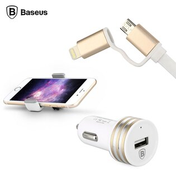 BASEUS 倍思 通用型車充套裝組/三合一超值組合/車充+車架+充電線/Android/iOS/Lightning/Micro USB/HTC M9/Desire EYE/620/816/820/820mini/Butterfly 2 蝴蝶2 B810X/M8/E8/E9+ 鴻海 InFocus M530/M330/M810/M2/M320/M210/M320E /M511/M510/IN810/IN610/IN815/M2+/車用/車架