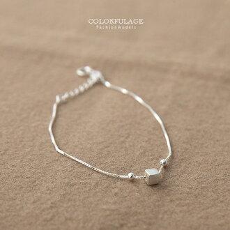 925純銀細緻手鍊 立體方塊綴銀珠手環 延長鍊設計可調節手圍鬆緊 【NPA353】小清新氣質