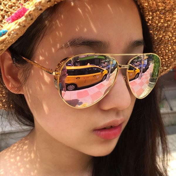 玫瑰金 粉紅 側邊加厚 雷朋 墨鏡 金屬細框 雷射反光水銀鏡面 明星范冰冰李小璐 正韓太陽眼鏡