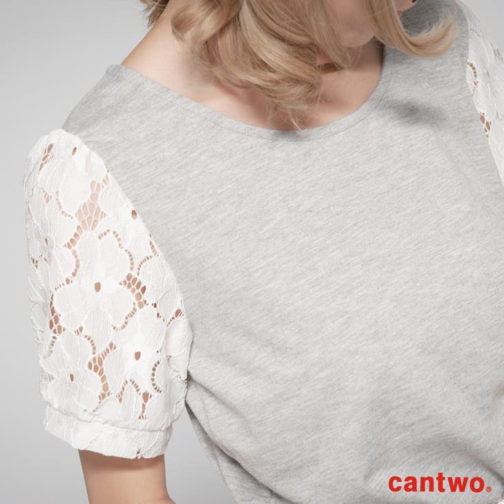 cantwo跳色拼接蕾絲袖上衣(共四色) 4