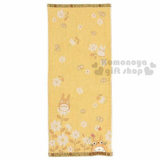 〔小禮堂〕宮崎駿 Totoro龍貓 長毛巾《淺黃.花朵.灰塵精靈》34x80 cm
