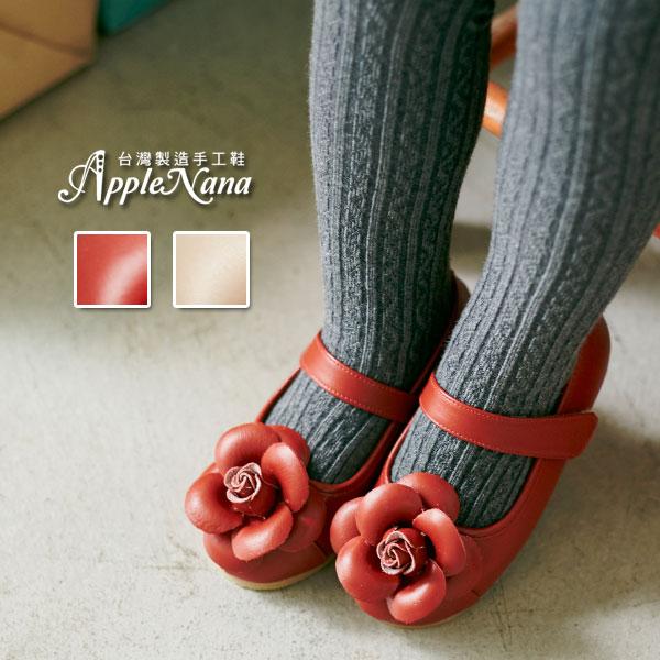 AppleNana。MIT手工童鞋。盛開手工玫瑰全真皮娃娃鞋【QBC70361080】蘋果奈奈