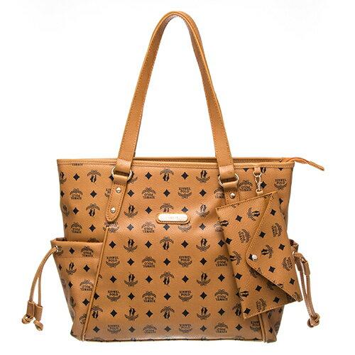 【XINWEI POLO】奢華LOGO風雙側口袋抽繩包附零錢包8129-棕