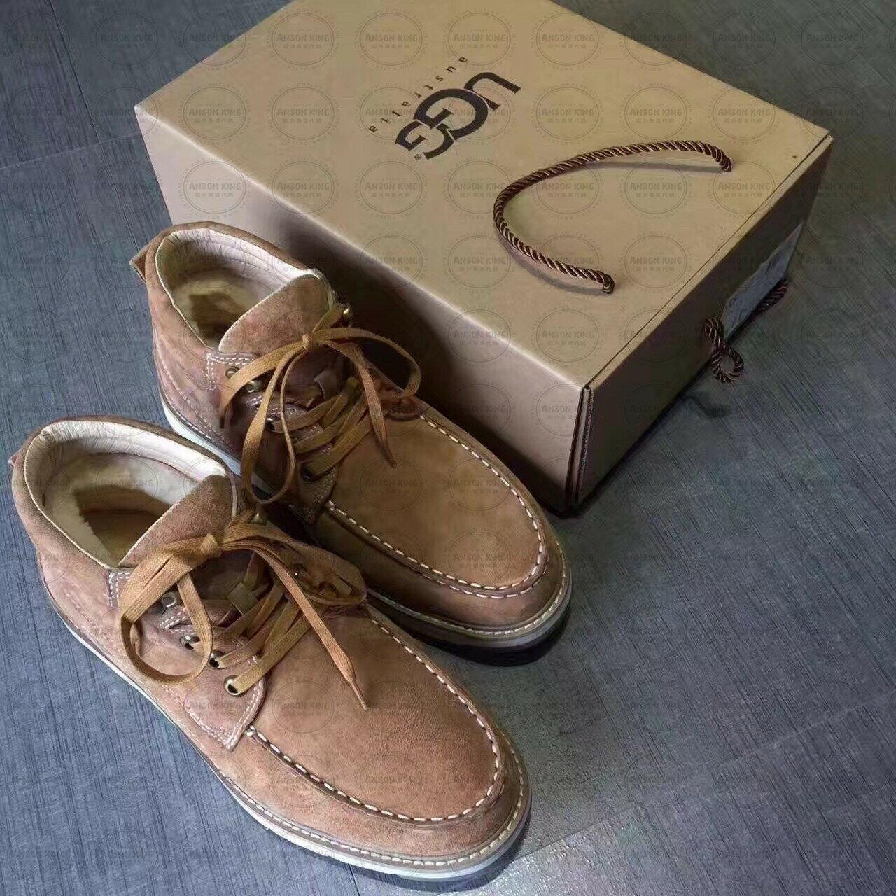 OUTLET正品代購 澳洲 UGG 新款冬季男款貝克漢 皮毛一體 短靴 保暖 真皮羊皮毛 雪靴 短靴 駝色 0
