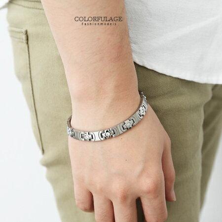 手環 經典十字架奧地利水晶鍺石鋼製手環 柒彩年代【NA326】抗過敏抗氧化 0