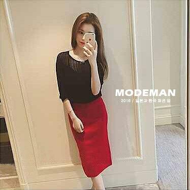 【MODE MAN】韓版秋季新款 窄裙 包臀顯瘦OL後開叉中長半身裙
