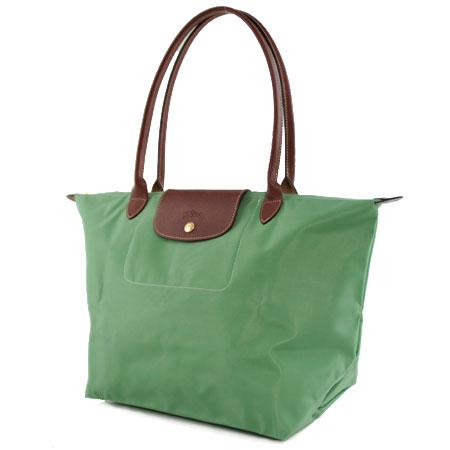 [1899-M號] 國外Outlet代購正品 法國巴黎 Longchamp 長柄 購物袋防水尼龍手提肩背水餃包淺綠色 0