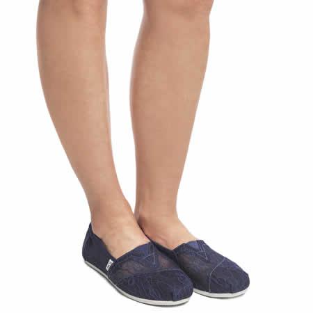 【TOMS】深藍色新款蕾絲平底休閒鞋  Navy Lace Women's Classics 8