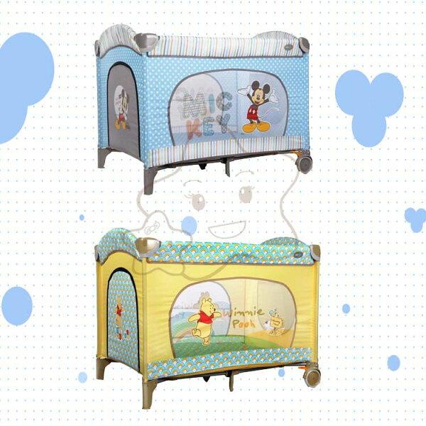 【大成婦嬰】迪士尼 Disney 米奇/小熊維尼雙層遊戲床(附蚊帳)+遊戲雙層架