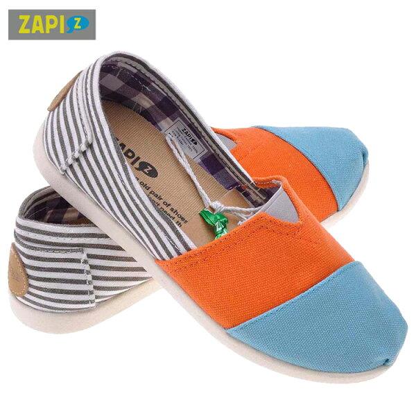 ZAPI休閒懶人鞋-灰白條紋