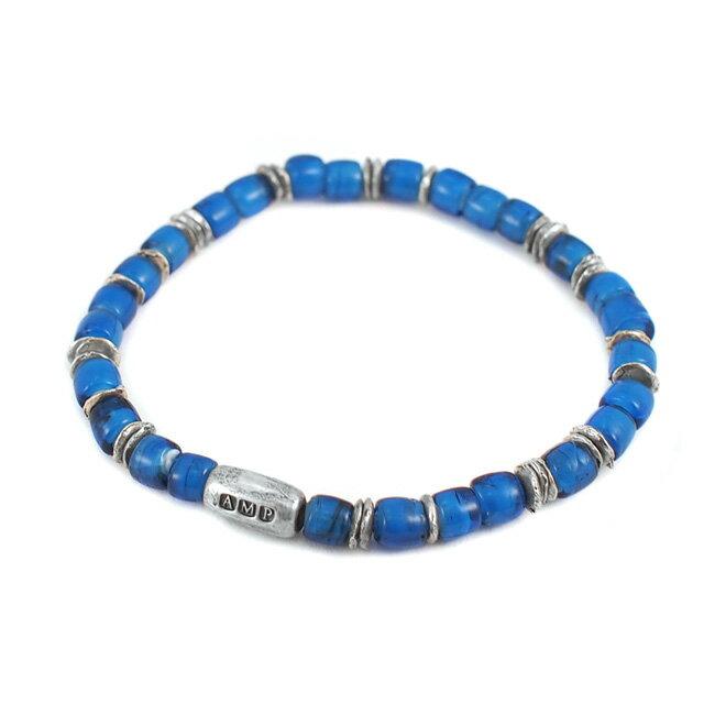 【海外訂購】【amp japan】White Heart 藍色玻璃珠手環(AMP-14AH-440BL  0782900000) 1