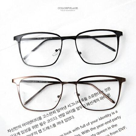 鏡框 細版質感金屬方框造型平光眼鏡 輕巧素色素框設計 日系風格 柒彩年代【NY329】中性單品 - 限時優惠好康折扣