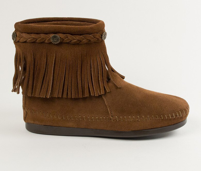 【Minnetonka 莫卡辛】深棕色 - 麂皮後拉鍊流蘇莫卡辛短靴 2