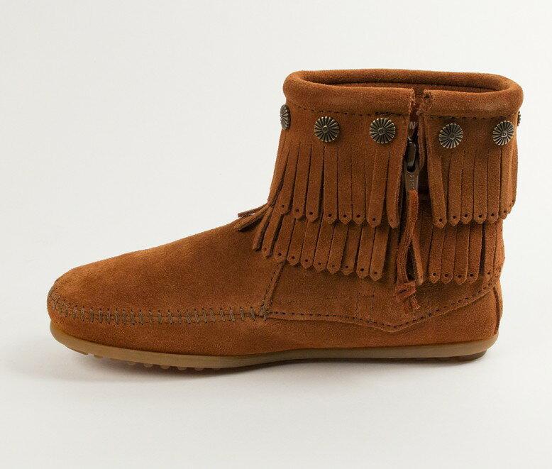 【Minnetonka 莫卡辛】棕色 - 雙層麂皮流蘇踝靴 3