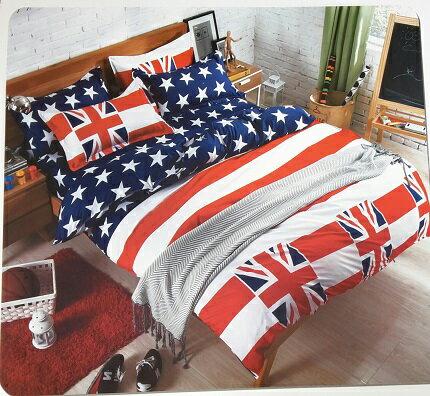 英國國旗  雙人床包+枕頭套x2