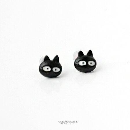耳針耳環 魔法女孩 立體可愛小黑貓咪造型耳環 俏皮小單品 小巧耳飾 柒彩年代【ND292】一對價格 0