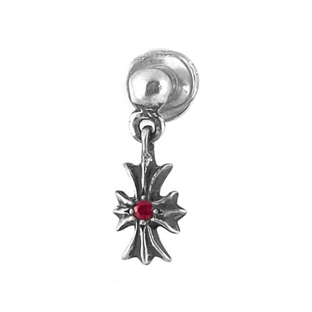 【現貨商品】【Chrome Hearts】經典十字架純銀耳環 - 客製化紅寶石款 (CHE-027-R) 0