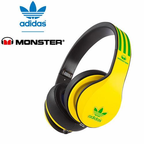 美國 Monster x adidas 聯名限量版耳罩式耳機(綠黃),公司貨,附保卡,一年保固