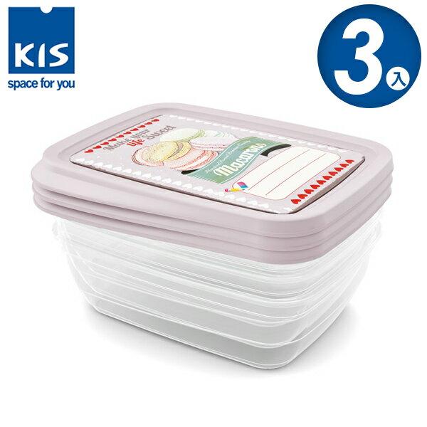E&J【012017-02】義大利 KIS 馬卡龍系列食物保鮮盒組 3x1L 3入;便當盒/飯盒/收納盒/餅乾盒