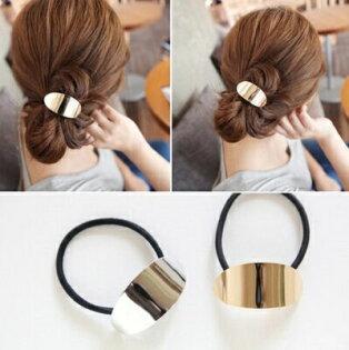 PS Mall 韓版髮飾頭飾 簡約氣質金屬光面韓式紮髮髮圈頭繩皮筋【G2020】