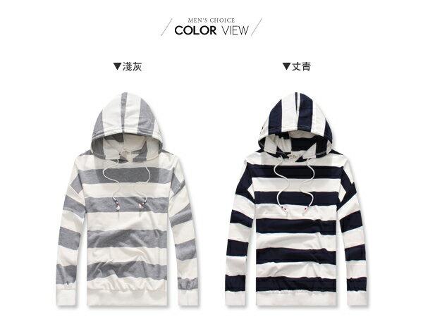 ☆BOY-2☆【NQ96010】休閒連帽抽繩條紋長袖T恤 1