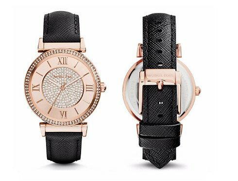 美國Outlet 正品代購 MichaelKors MK 玫瑰金鑲鑽 黑色皮帶三環計時手錶腕錶 MK2376 2