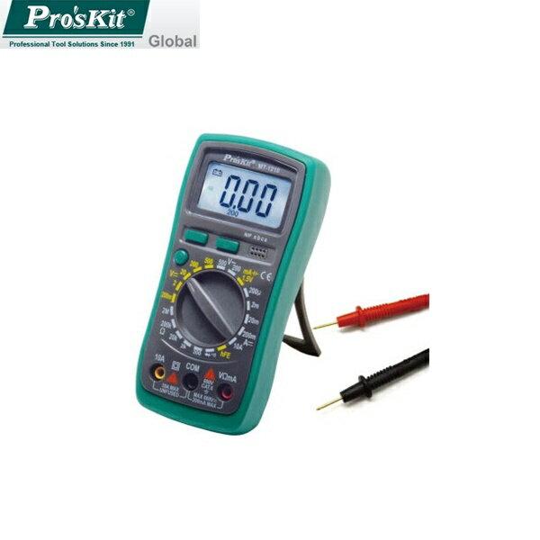 又敗家@台灣製造Pro'sKit寶工3 1/2數位電錶附電池MT-1210附晶體測試背光數位型三用電表數位電表直流600V交流500V電阻2MΩ電池手動