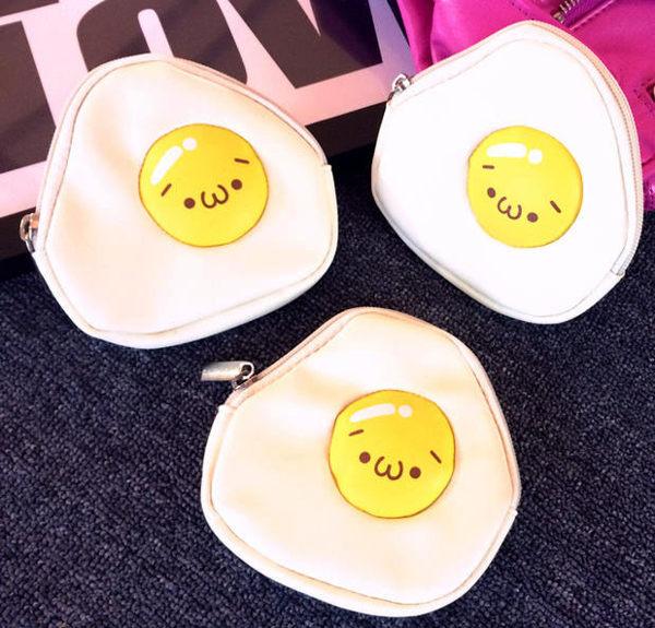 零錢包-日系超可愛QQ荷包蛋防水PU零錢包 收納包 耳機包 【AN SHOP】