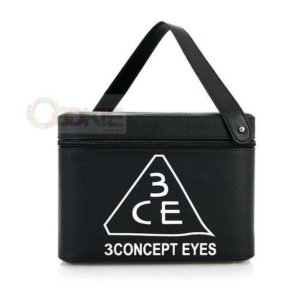 3CE化妝包 - 3CONCEPT EYES 大容量防水專業雙層手提化妝包化妝箱 附鏡子(黑)【庫奇小舖】