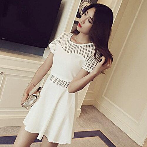 短袖洋裝 - 韓版純色拼接透視網格連身裙【27109】藍色巴黎《黑 / 白》☞ 現貨商品 1