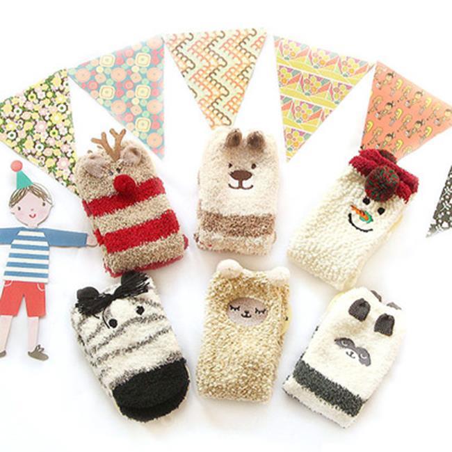 50^%OFF~W018369SK~新品日系拉毛加絨卡通女襪加厚保暖地板襪聖誕襪珊瑚絨襪子