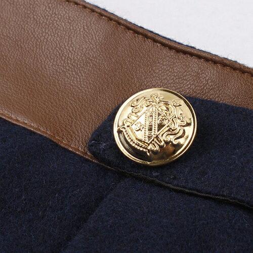 裙子 - 拼接皮革兩釦壓褶A字裙【23312】藍色巴黎《2色:M~L》現貨+預購 1