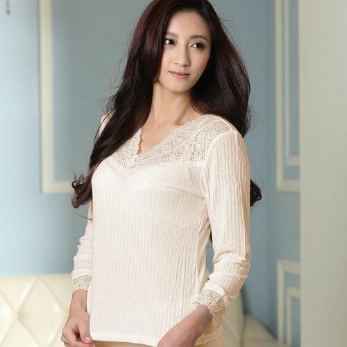 【AJM】Modal柔感木漿棉V領保暖衛生衣(膚) 0