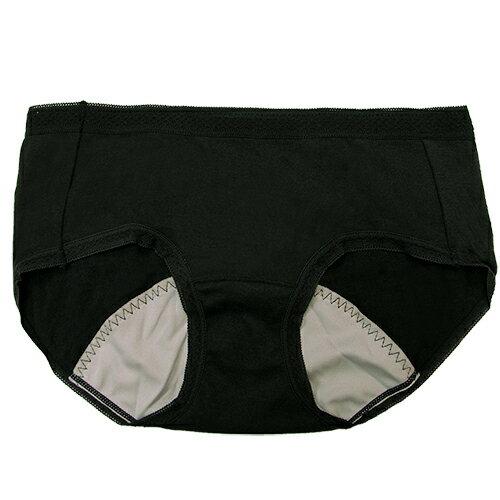 【AJM】MIT素色防漏中低腰平口生理褲(黑) 0