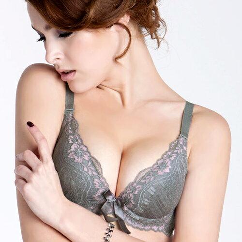 【AJM】柔心 超深V溫柔捧胸BC罩杯內衣(灰) 0