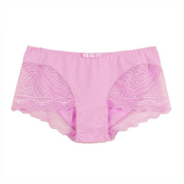 【AJM】蕾絲網紋平口褲 (粉紫) 1