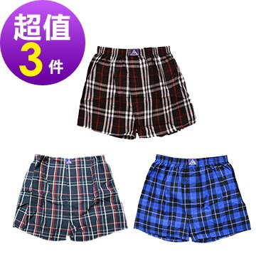 【AJM】純棉 男性四角格紋內褲 3件組 (隨機色出貨) - 限時優惠好康折扣