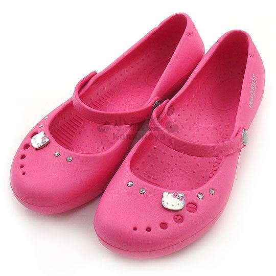 〔小禮堂〕Hello Kitty 水鑽娃娃鞋《桃紅.成人尺寸》輕量無負擔