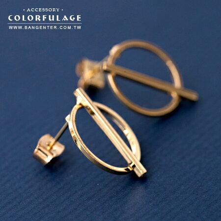 耳針耳環 簡單即是美 金色鏤空圓圈拼接 百搭好配 柒彩年代【ND342】一對價格 0