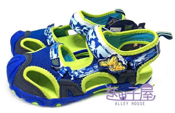 【巷子屋】塞爾號 男童專業護趾運動涼鞋 [46116] 藍綠 超值價$198