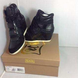 ASH- 全新正品女款Bea Wedge Sneakers 黑色內增高 真皮350464